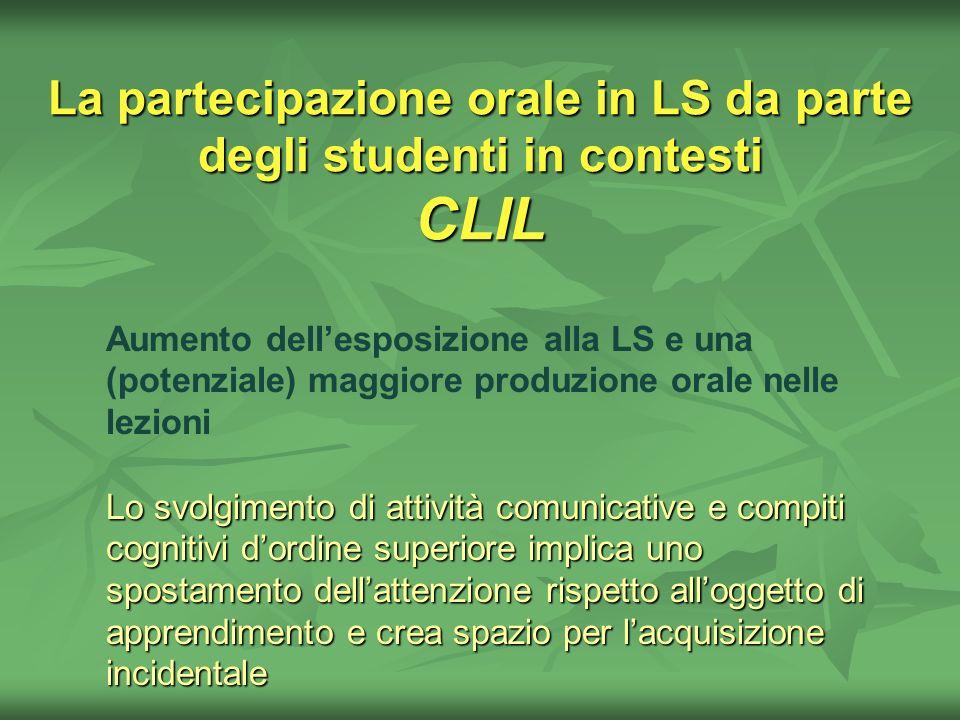 La partecipazione orale in LS da parte degli studenti in contesti CLIL Aumento dellesposizione alla LS e una (potenziale) maggiore produzione orale ne