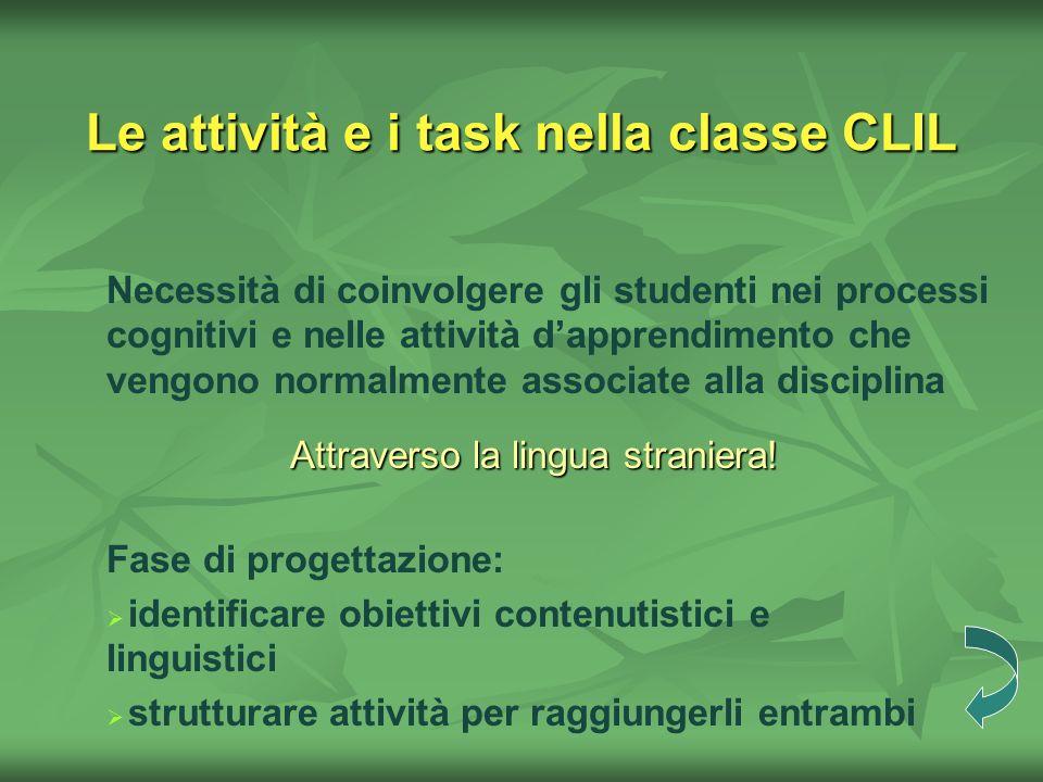 Le attività e i task nella classe CLIL Necessità di coinvolgere gli studenti nei processi cognitivi e nelle attività dapprendimento che vengono normal
