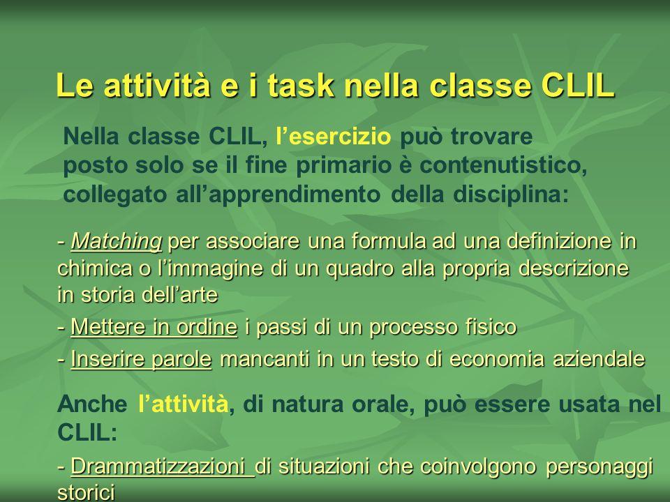 Le attività e i task nella classe CLIL Nella classe CLIL, lesercizio può trovare posto solo se il fine primario è contenutistico, collegato allapprend