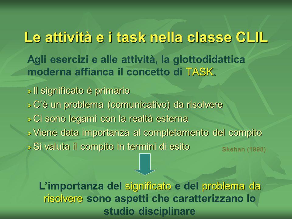 Le attività e i task nella classe CLIL TASK. Agli esercizi e alle attività, la glottodidattica moderna affianca il concetto di TASK. Il significato è