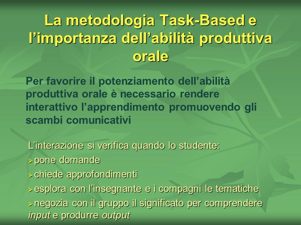 La metodologia Task-Based e limportanza dellabilità produttiva orale Per favorire il potenziamento dellabilità produttiva orale è necessario rendere i
