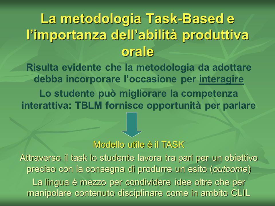 La metodologia Task-Based e limportanza dellabilità produttiva orale Risulta evidente che la metodologia da adottare debba incorporare loccasione per