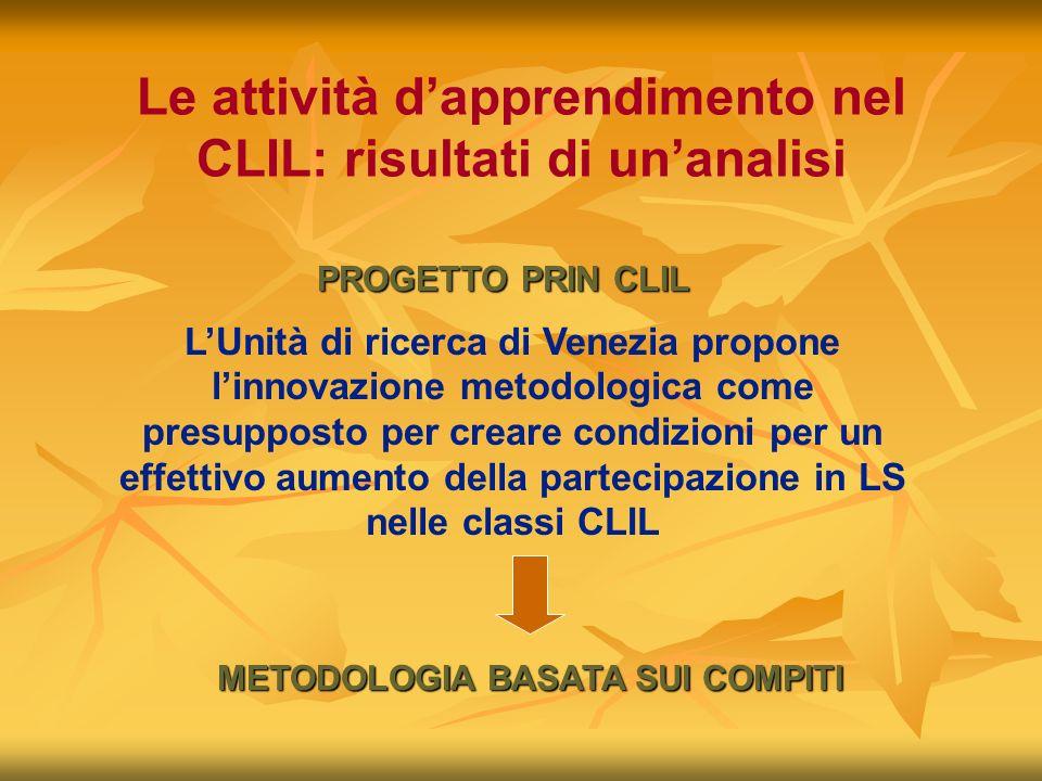 Le attività dapprendimento nel CLIL: risultati di unanalisi PROGETTO PRIN CLIL LUnità di ricerca di Venezia propone linnovazione metodologica come pre