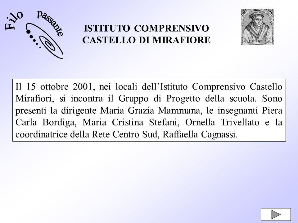 ISTITUTO COMPRENSIVO CASTELLO DI MIRAFIORE Il 15 ottobre 2001, nei locali dellIstituto Comprensivo Castello Mirafiori, si incontra il Gruppo di Proget