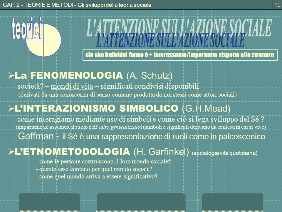 CAP. 2 - TEORIE E METODI - Gli sviluppi della teoria sociale ciò che individui fanno è + interessante/importante rispetto alle strutture La FENOMENOLO