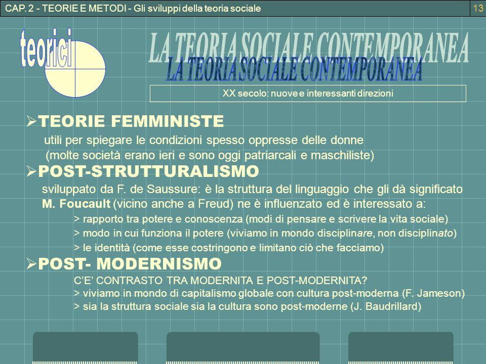 CAP. 2 - TEORIE E METODI - Gli sviluppi della teoria sociale TEORIE FEMMINISTE utili per spiegare le condizioni spesso oppresse delle donne (molte soc