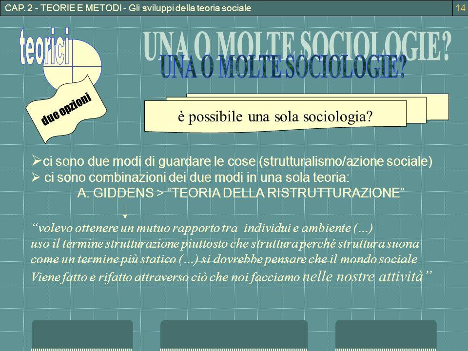 CAP. 2 - TEORIE E METODI - Gli sviluppi della teoria sociale ci sono due modi di guardare le cose (strutturalismo/azione sociale) ci sono combinazioni