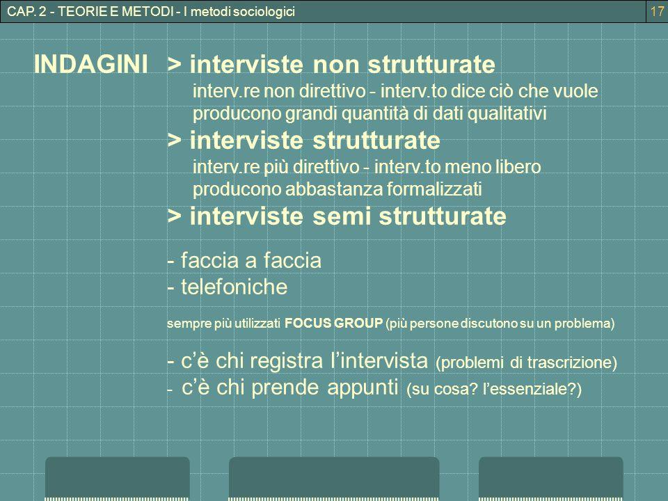 CAP. 2 - TEORIE E METODI - I metodi sociologici INDAGINI> interviste non strutturate interv.re non direttivo - interv.to dice ciò che vuole producono