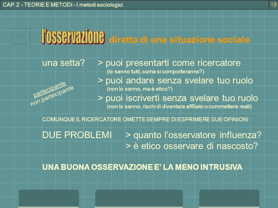 CAP. 2 - TEORIE E METODI - I metodi sociologici diretta di una situazione sociale una setta?> puoi presentarti come ricercatore (lo sanno tutti, come