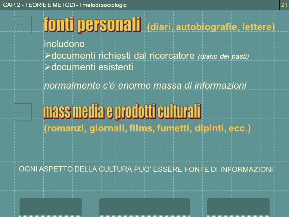 CAP. 2 - TEORIE E METODI - I metodi sociologici includono documenti richiesti dal ricercatore (diario dei pasti) documenti esistenti normalmente cè en