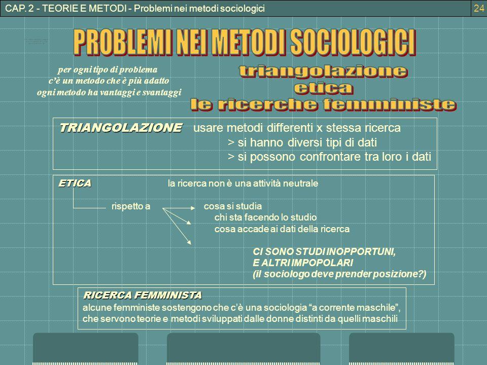 CAP. 2 - TEORIE E METODI - Problemi nei metodi sociologici TRIANGOLAZIONE TRIANGOLAZIONE usare metodi differenti x stessa ricerca > si hanno diversi t