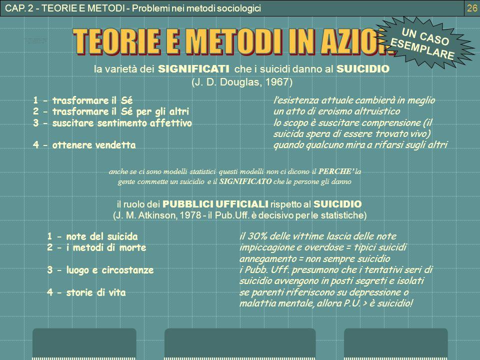 CAP. 2 - TEORIE E METODI - Problemi nei metodi sociologici la varietà dei SIGNIFICATI che i suicidi danno al SUICIDIO (J. D. Douglas, 1967) 1 - trasfo