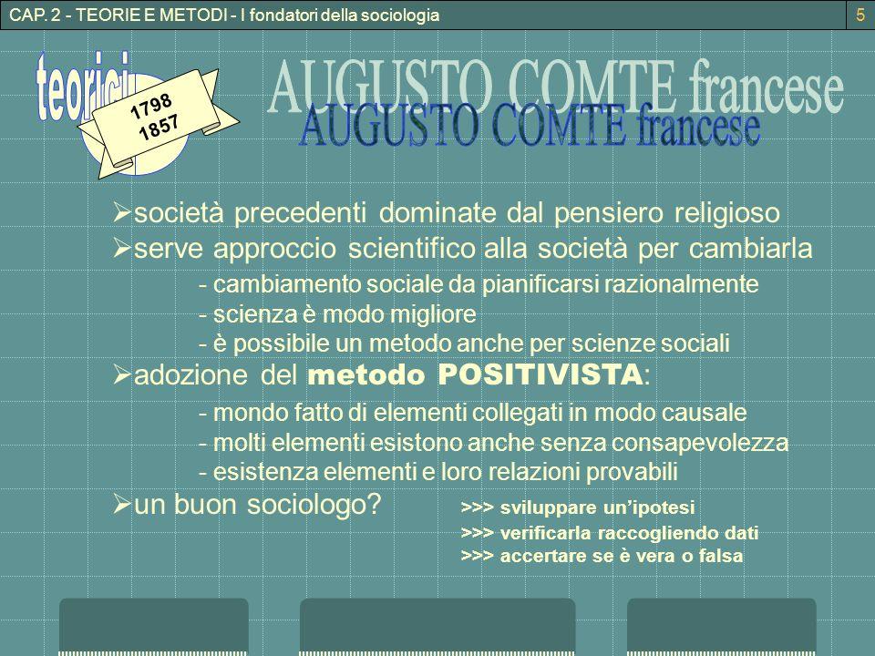 CAP. 2 - TEORIE E METODI - I fondatori della sociologia 1798 1857 società precedenti dominate dal pensiero religioso serve approccio scientifico alla