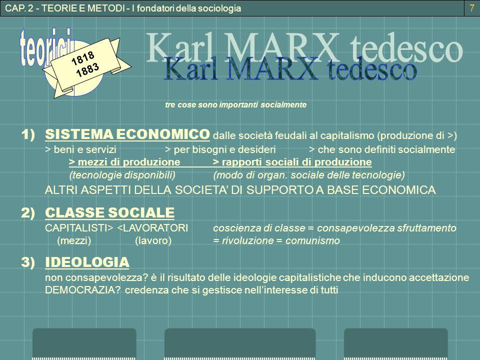 CAP. 2 - TEORIE E METODI - I fondatori della sociologia 1818 1883 tre cose sono importanti socialmente 1)SISTEMA ECONOMICO dalle società feudali al ca