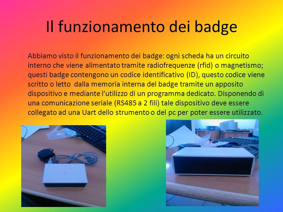 Il funzionamento dei badge Abbiamo visto il funzionamento dei badge: ogni scheda ha un circuito interno che viene alimentato tramite radiofrequenze (r