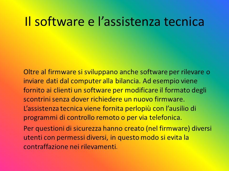 Il software e lassistenza tecnica Oltre al firmware si sviluppano anche software per rilevare o inviare dati dal computer alla bilancia. Ad esempio vi