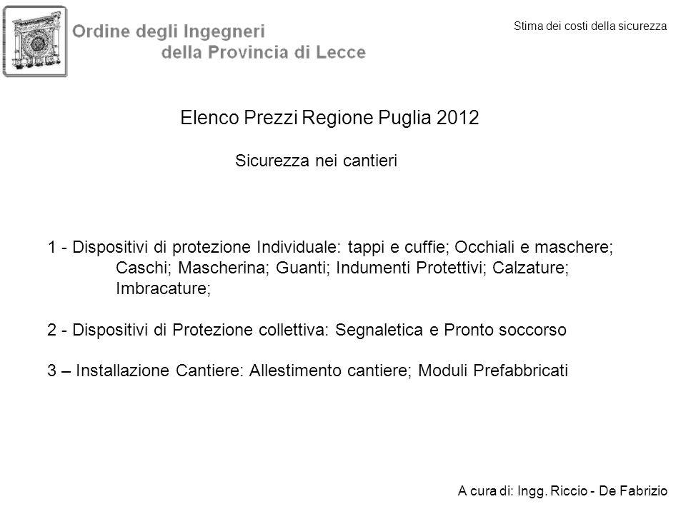 Stima dei costi della sicurezza A cura di: Ingg. Riccio - De Fabrizio Elenco Prezzi Regione Puglia 2012 Sicurezza nei cantieri 1 - Dispositivi di prot