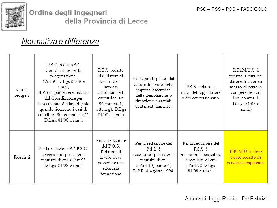 Normativa e differenze Chi lo redige ? P.S.C. redatto dal Coordinatore per la progettazione. ( Art 91 D.Lgs 81/08 e s.m.i.) Il P.S.C. può essere redat