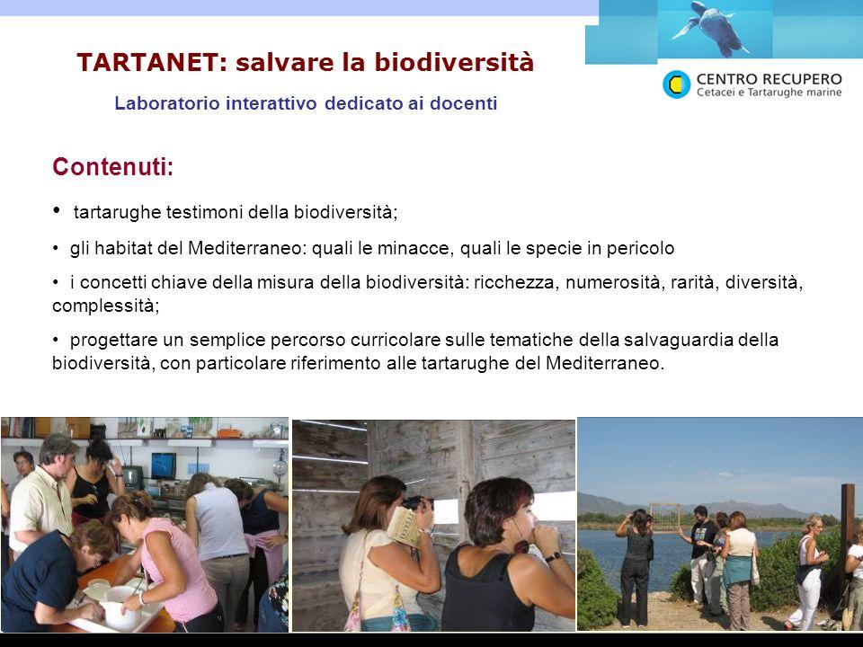 TARTANET: salvare la biodiversità Laboratorio interattivo dedicato ai docenti Contenuti: tartarughe testimoni della biodiversità; gli habitat del Medi