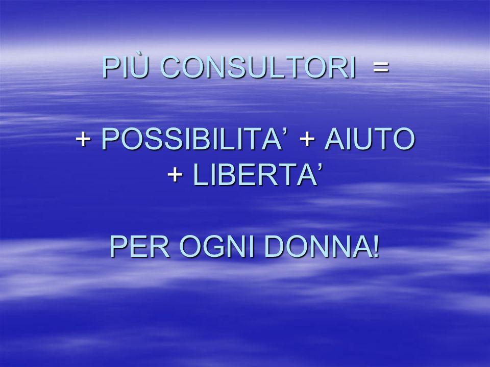 PIÙ CONSULTORI = + POSSIBILITA + AIUTO + LIBERTA PER OGNI DONNA!