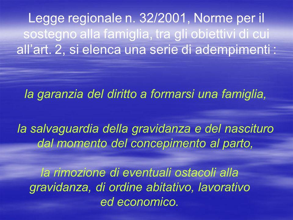 Legge regionale n.32/2001, Norme per il sostegno alla famiglia, tra gli obiettivi di cui allart.