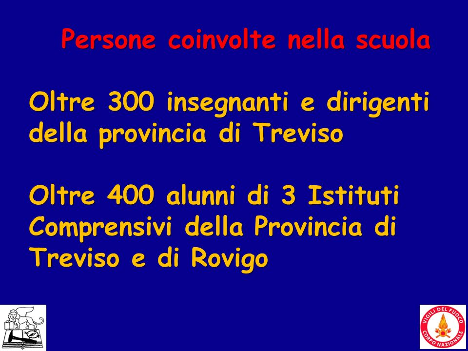 18 Persone coinvolte nella scuola Oltre 300 insegnanti e dirigenti della provincia di Treviso Oltre 400 alunni di 3 Istituti Comprensivi della Provinc