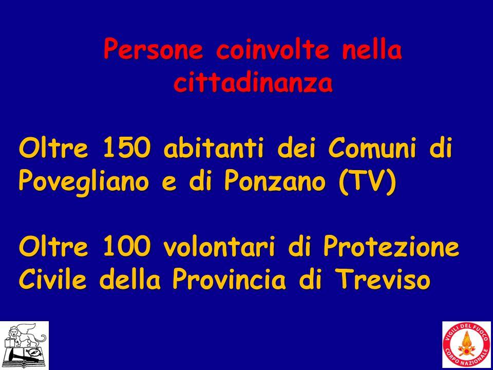 19 Persone coinvolte nella cittadinanza Oltre 150 abitanti dei Comuni di Povegliano e di Ponzano (TV) Oltre 100 volontari di Protezione Civile della P