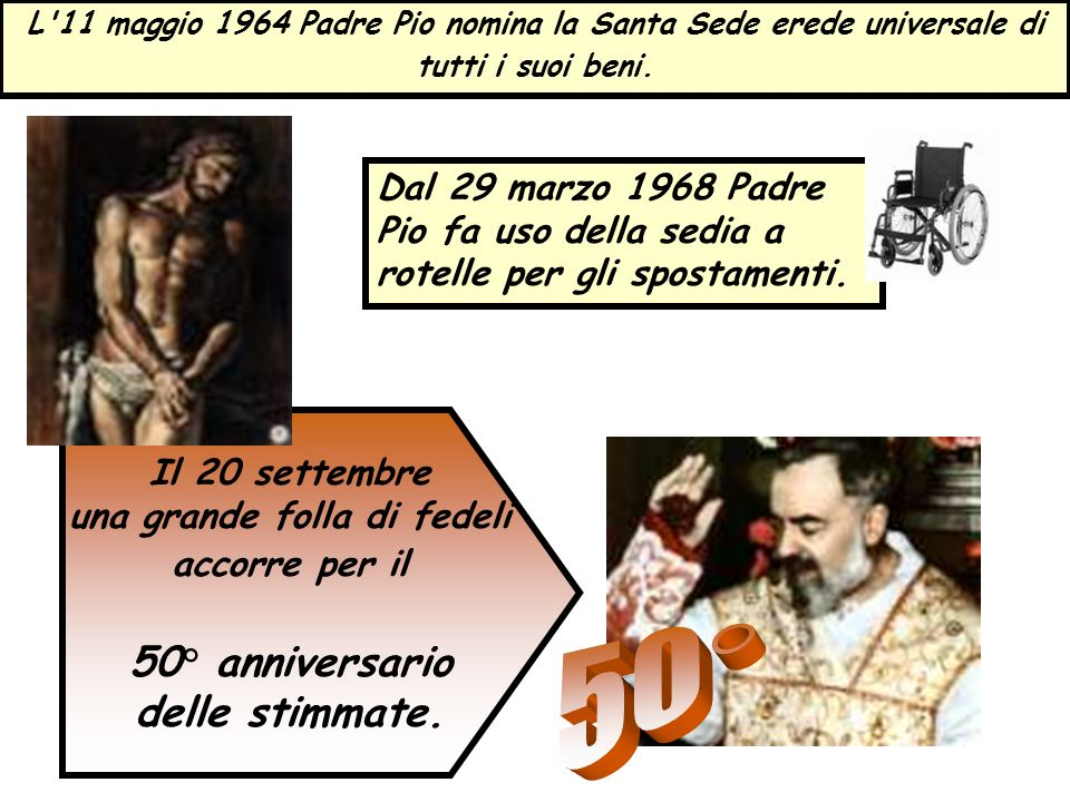 L'11 maggio 1964 Padre Pio nomina la Santa Sede erede universale di tutti i suoi beni. Il 20 settembre una grande folla di fedeli accorre per il 50° a