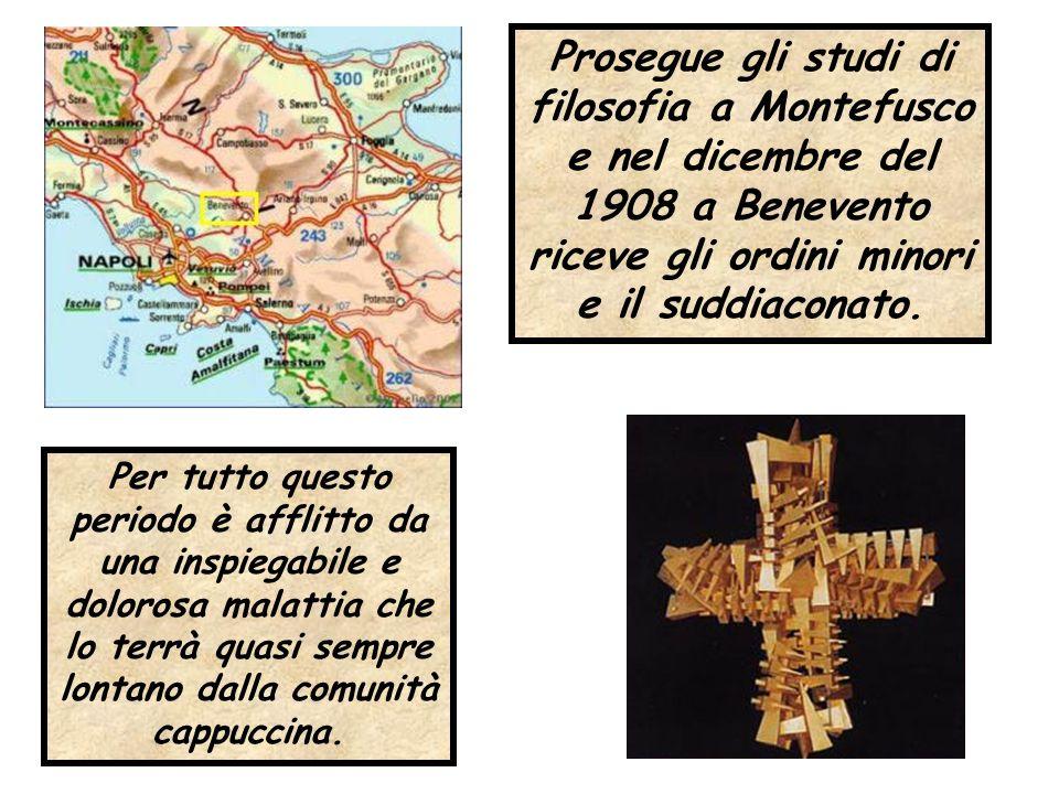 Prosegue gli studi di filosofia a Montefusco e nel dicembre del 1908 a Benevento riceve gli ordini minori e il suddiaconato. Per tutto questo periodo