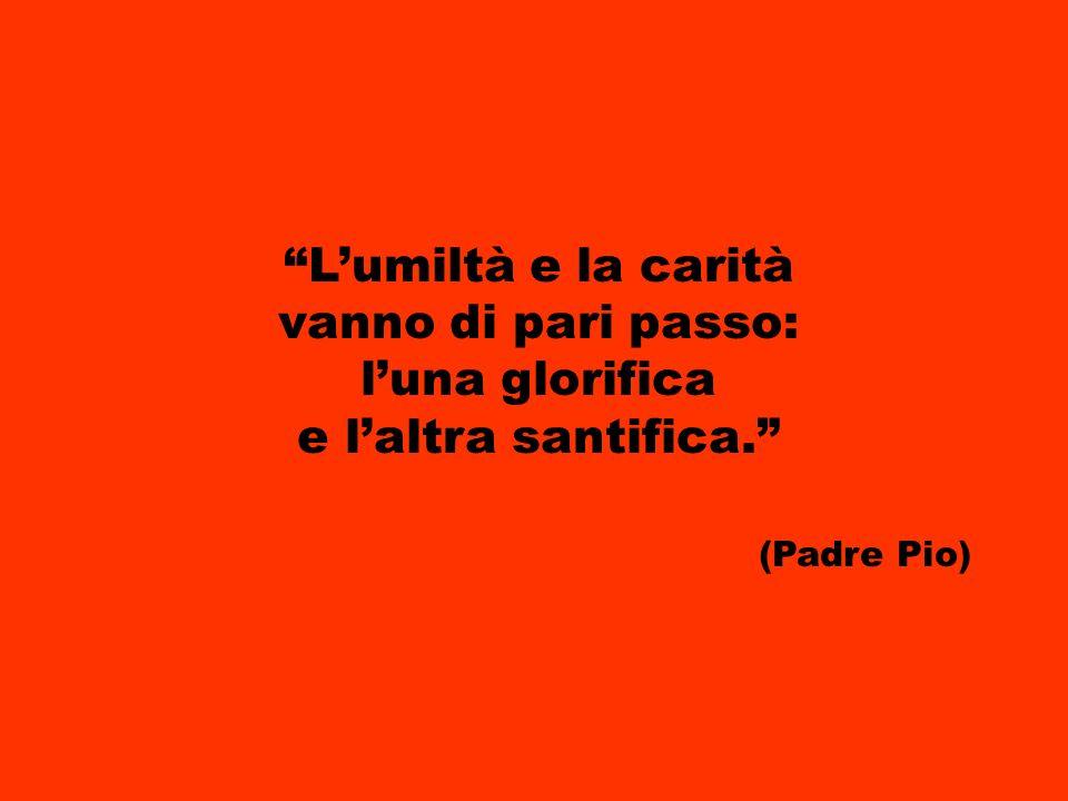 Lumiltà e la carità vanno di pari passo: luna glorifica e laltra santifica. (Padre Pio)