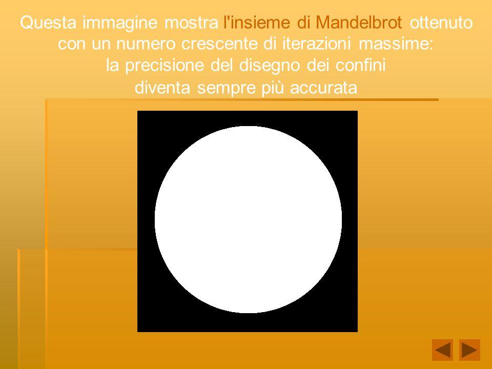 Questa immagine mostra l'insieme di Mandelbrot ottenuto con un numero crescente di iterazioni massime: la precisione del disegno dei confini diventa s