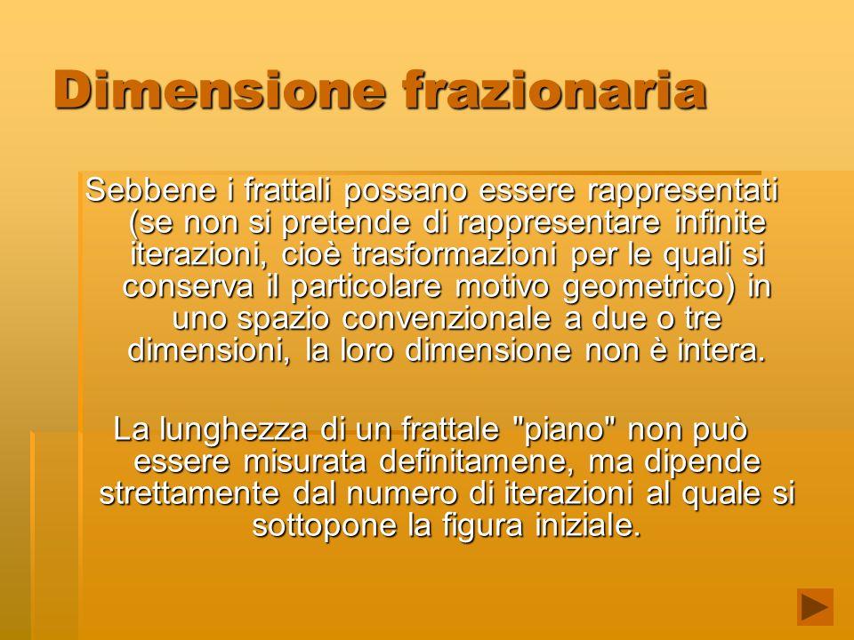 Dimensione frazionaria Sebbene i frattali possano essere rappresentati (se non si pretende di rappresentare infinite iterazioni, cioè trasformazioni per le quali si conserva il particolare motivo geometrico) in uno spazio convenzionale a due o tre dimensioni, la loro dimensione non è intera.