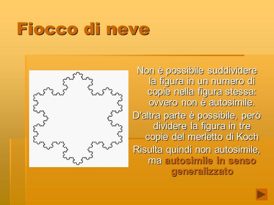 Fiocco di neve Non è possibile suddividere la figura in un numero di copie nella figura stessa: ovvero non è autosimile. D'altra parte è possibile, pe
