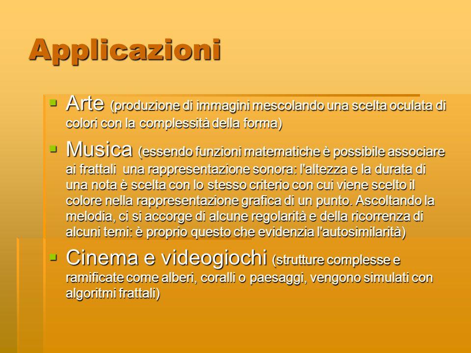 Applicazioni Arte (produzione di immagini mescolando una scelta oculata di colori con la complessità della forma) Arte (produzione di immagini mescola
