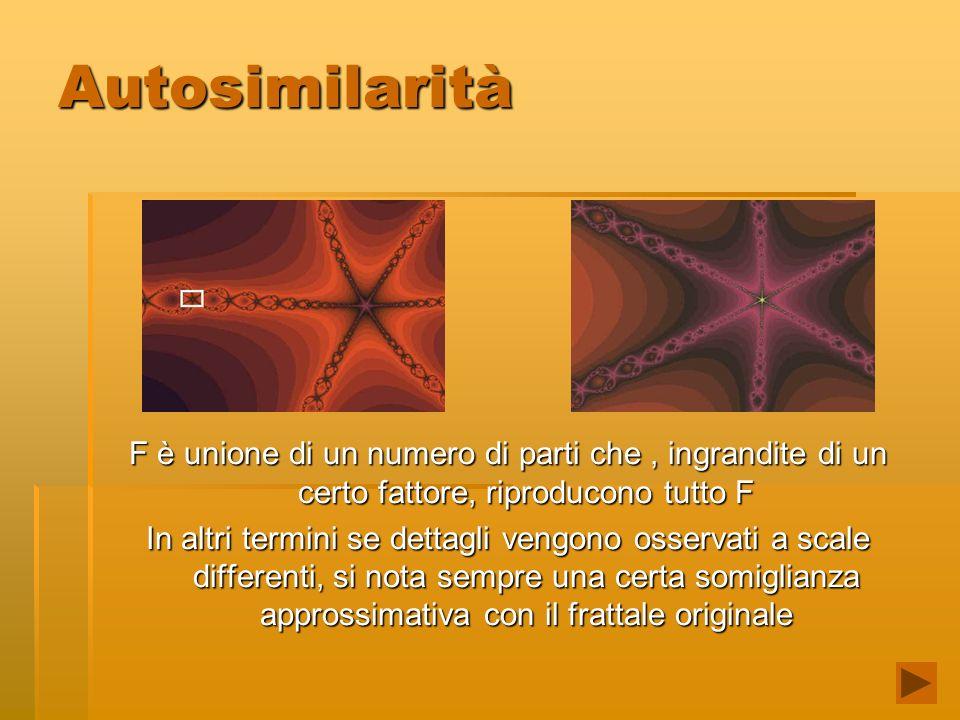 Autosimilarità F è unione di un numero di parti che, ingrandite di un certo fattore, riproducono tutto F In altri termini se dettagli vengono osservat