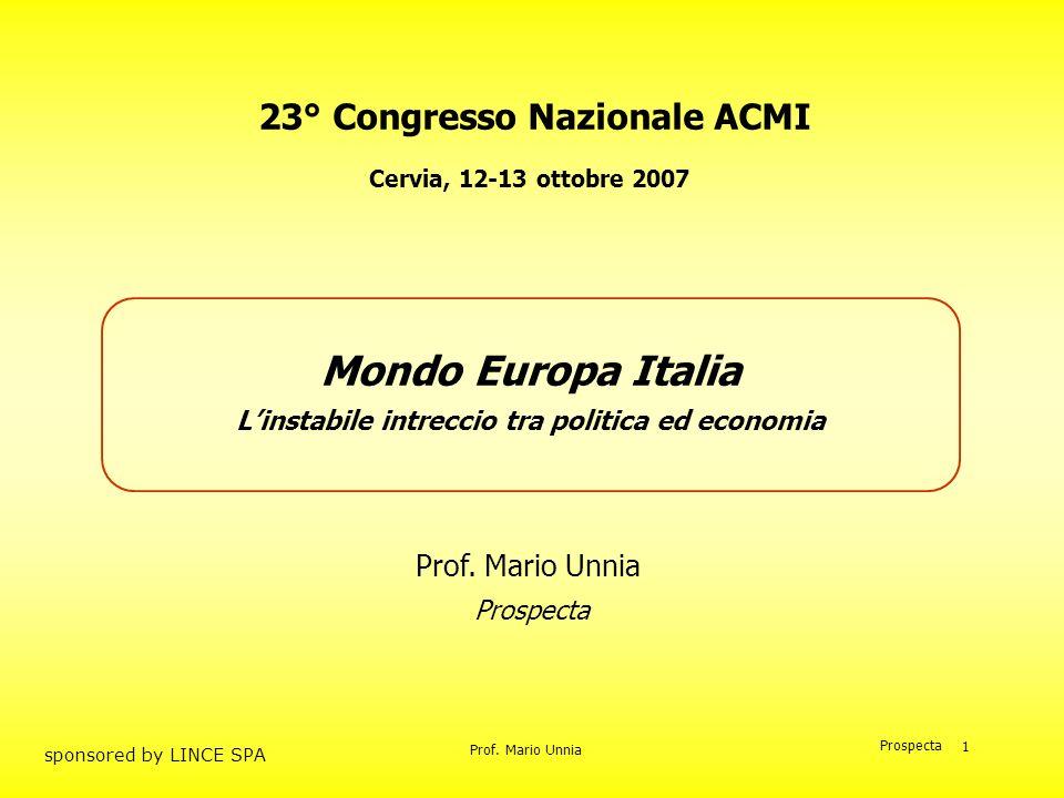 Prof. Mario Unnia Prospecta sponsored by LINCE SPA 1 23° Congresso Nazionale ACMI Prof. Mario Unnia Mondo Europa Italia Linstabile intreccio tra polit