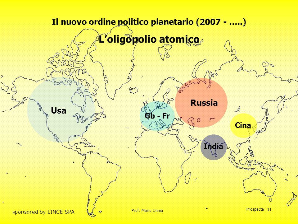 Prof. Mario Unnia Prospecta sponsored by LINCE SPA 11 Il nuovo ordine politico planetario (2007 - …..) Russia Gb - Fr Cina India Loligopolio atomico U