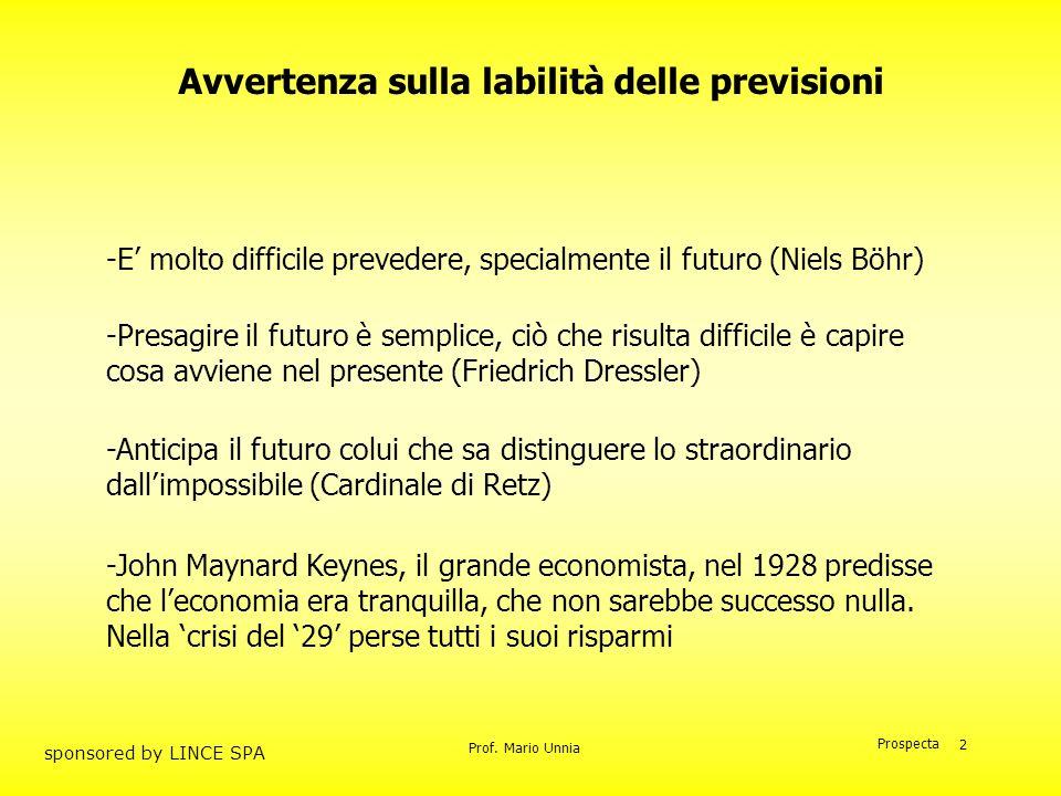 Prof. Mario Unnia Prospecta sponsored by LINCE SPA 2 -Anticipa il futuro colui che sa distinguere lo straordinario dallimpossibile (Cardinale di Retz)