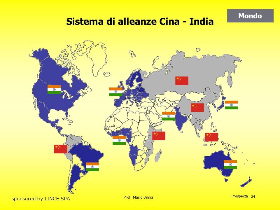 Prof. Mario Unnia Prospecta sponsored by LINCE SPA 24 Mondo Sistema di alleanze Cina - India