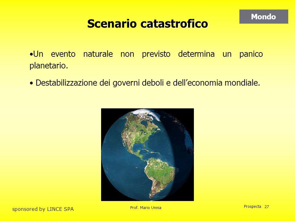 Prof. Mario Unnia Prospecta sponsored by LINCE SPA 27 catastrofico Scenario catastrofico Un evento naturale non previsto determina un panico planetari