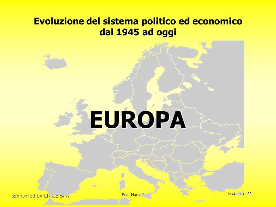 Prof. Mario Unnia Prospecta sponsored by LINCE SPA 29 Evoluzione del sistema politico ed economico dal 1945 ad oggi EUROPA