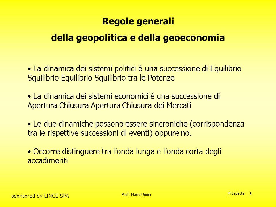 Prof. Mario Unnia Prospecta sponsored by LINCE SPA 3 Regole generali della geopolitica e della geoeconomia La dinamica dei sistemi politici è una succ