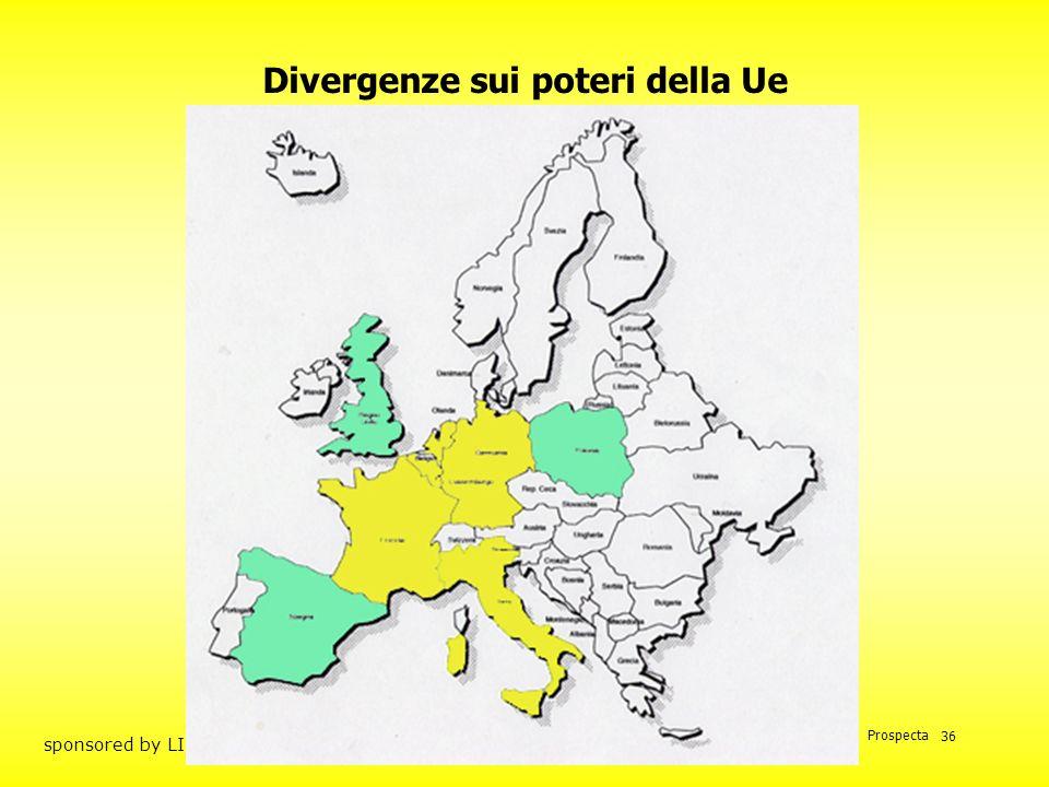 Prof. Mario Unnia Prospecta sponsored by LINCE SPA 36 Divergenze sui poteri della Ue