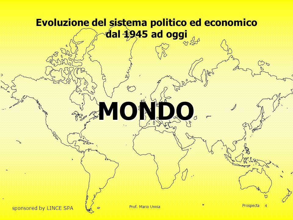 Prof. Mario Unnia Prospecta sponsored by LINCE SPA 4 Evoluzione del sistema politico ed economico dal 1945 ad oggi MONDO