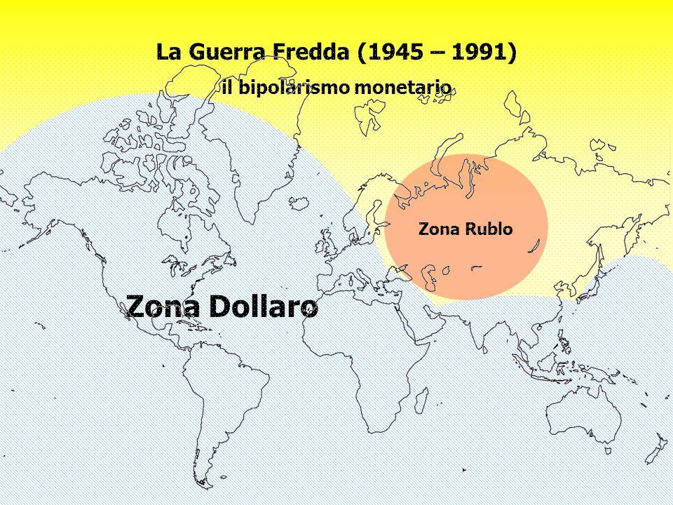 Prof. Mario Unnia Prospecta sponsored by LINCE SPA 6 La Guerra Fredda (1945 – 1991) il bipolarismo monetario Zona Rublo Zona Dollaro