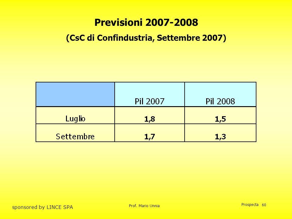 Prof. Mario Unnia Prospecta sponsored by LINCE SPA 60 Previsioni 2007-2008 (CsC di Confindustria, Settembre 2007)