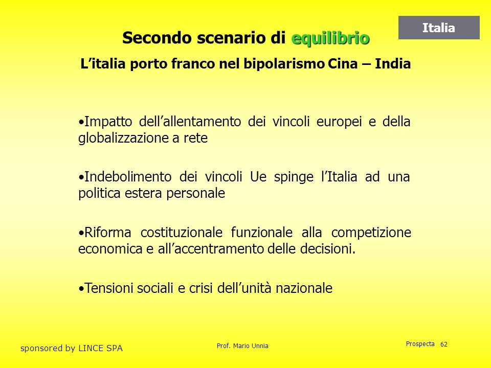 Prof. Mario Unnia Prospecta sponsored by LINCE SPA 62 equilibrio Secondo scenario di equilibrio Litalia porto franco nel bipolarismo Cina – India Impa