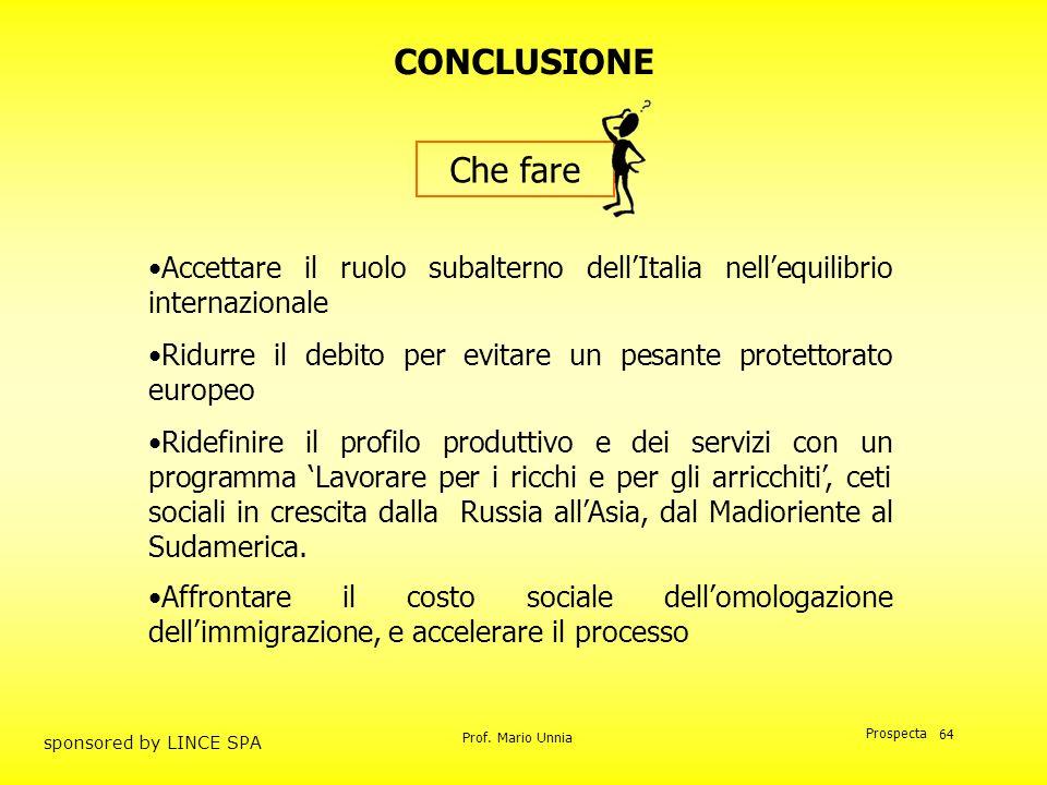 Prof. Mario Unnia Prospecta sponsored by LINCE SPA 64 CONCLUSIONE Accettare il ruolo subalterno dellItalia nellequilibrio internazionale Ridurre il de