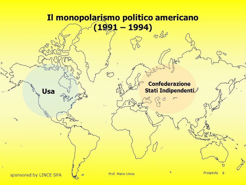 Prof. Mario Unnia Prospecta sponsored by LINCE SPA 8 Il monopolarismo politico americano (1991 – 1994) Usa Confederazione Stati Indipendenti