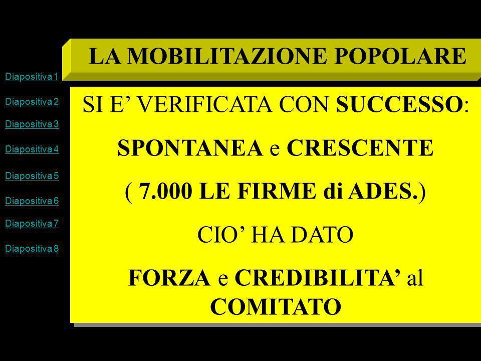 Diapositiva 1 Diapositiva 2 Diapositiva 3 Diapositiva 4 Diapositiva 5 Diapositiva 6 Diapositiva 7 Diapositiva 8 LA MOBILITAZIONE POPOLARE SI E VERIFICATA CON SUCCESSO: SPONTANEA e CRESCENTE ( 7.000 LE FIRME di ADES.) CIO HA DATO FORZA e CREDIBILITA al COMITATO SI E VERIFICATA CON SUCCESSO: SPONTANEA e CRESCENTE ( 7.000 LE FIRME di ADES.) CIO HA DATO FORZA e CREDIBILITA al COMITATO Diapositiva 1 Diapositiva 2 Diapositiva 3 Diapositiva 4 Diapositiva 5 Diapositiva 6 Diapositiva 7 Diapositiva 8
